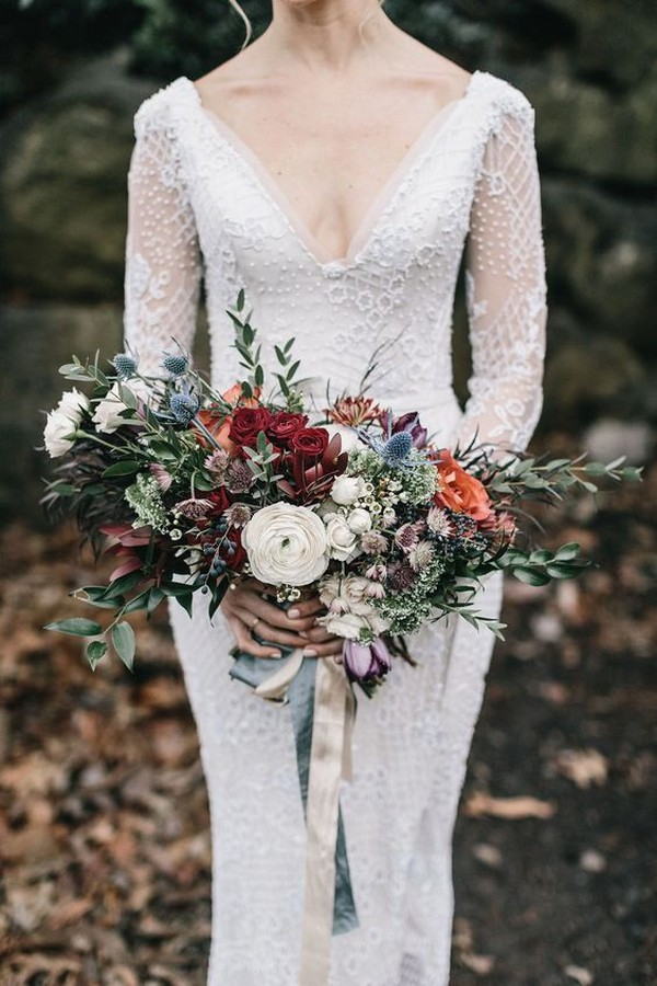 bohemian inspired fall wedding bouqet
