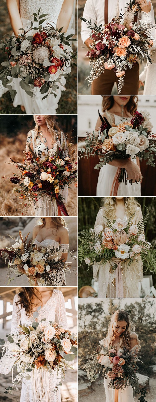bohemian inspired fall wedding bouquets for 2019