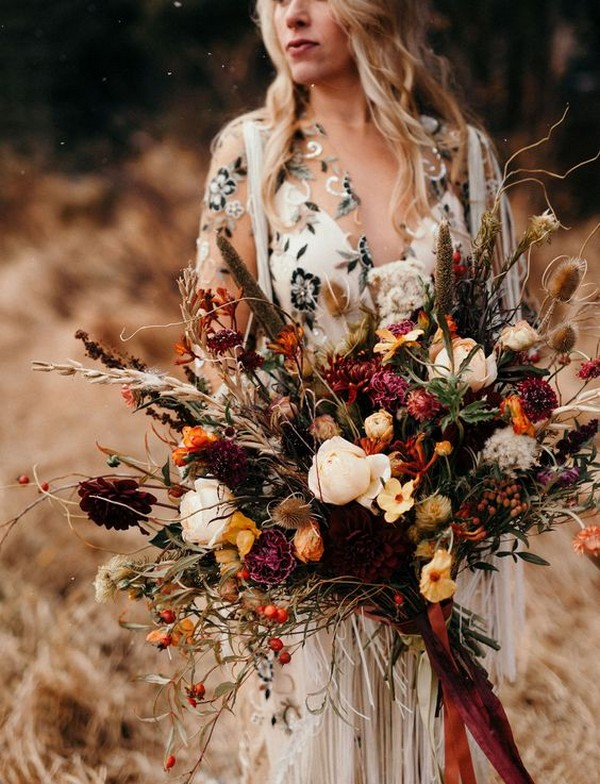 bohemian themed fall wedding bouquet