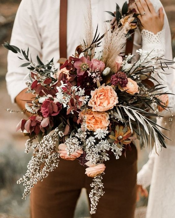 boho chic fall wedding bouquet