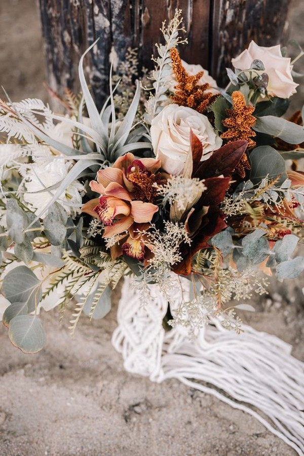 boho chic wedding bouquet ideas
