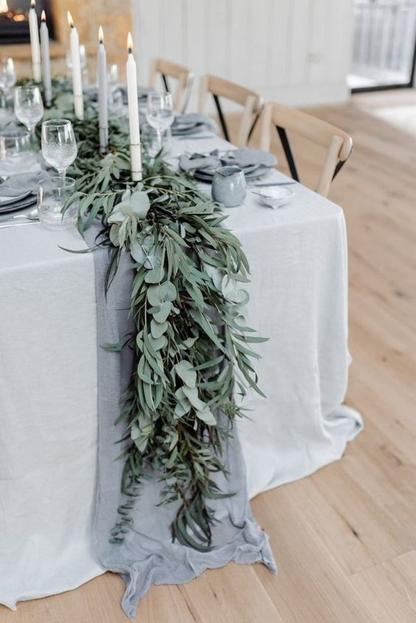boho greenery and cloth wedding table runner ideas