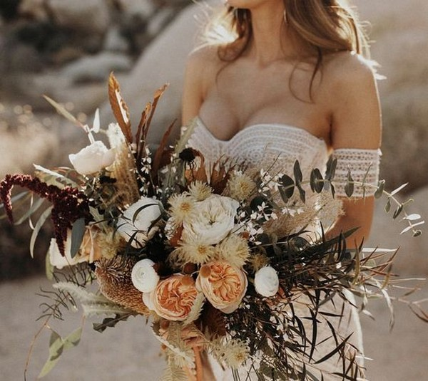 boho inspired fall wedding bouquet