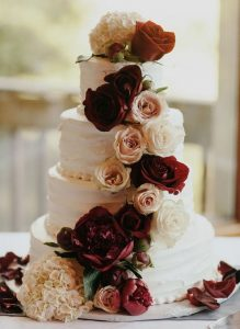 burgundy and blush fall wedding cake