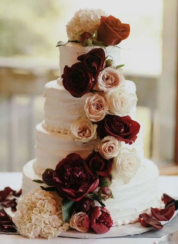 burgundy and blush fall wedding cake