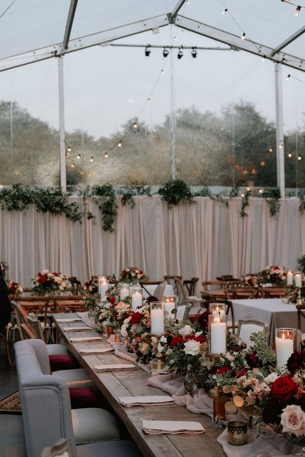 burgundy and blush fall wedding reception decorations