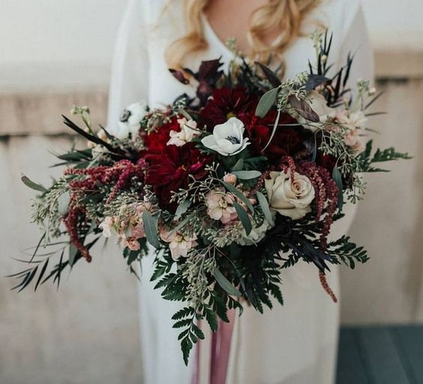 burgundy and greenery boho wedding bouquet