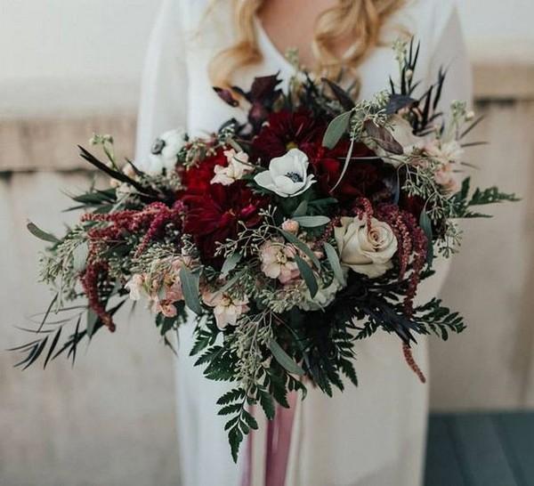 burgundy and greenery boho wedding bouquet