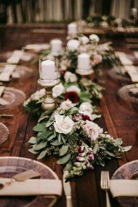 burgundy and greenery wedding garland runner ideas