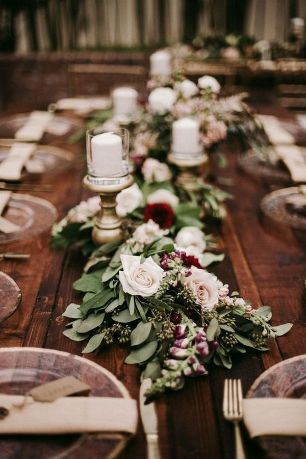 burgundy and greenery wedding garland runner ideas