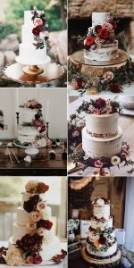 burgundy color inspired fall wedding cakes