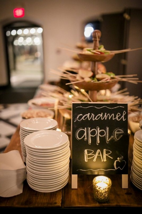 caramel apple bar for fall wedding reception