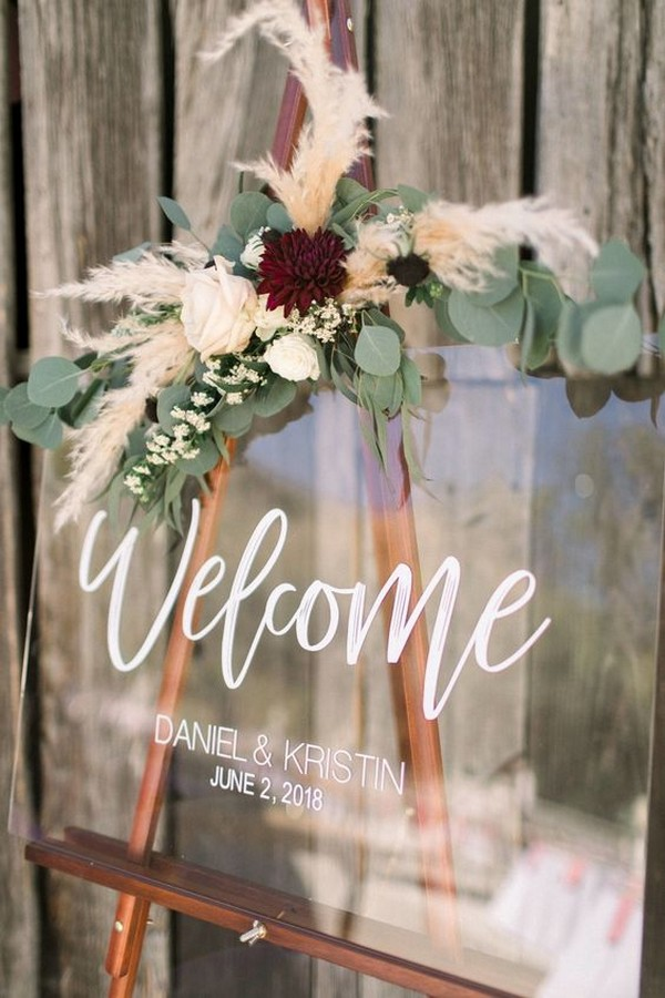 chic acrylic wedding welcome sign