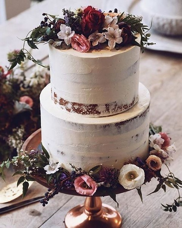 chic fall wedding cake with flowers