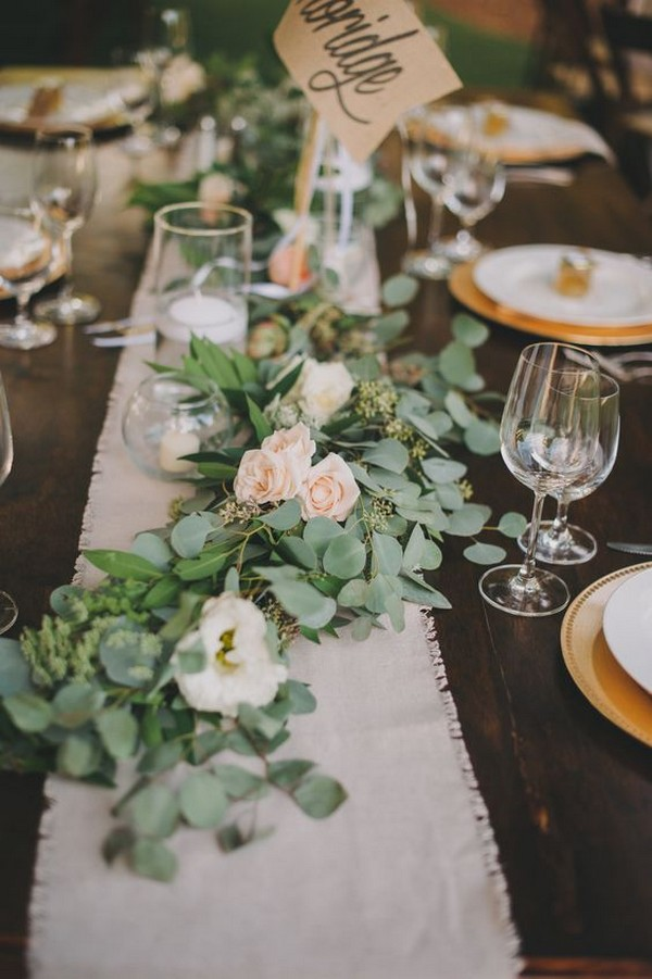 chic greenery and burlap wedding table runner ideas