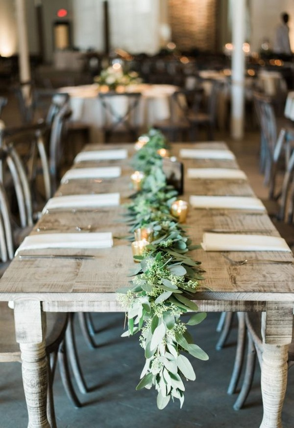 chic greenery wedding garland centerpiece ideas