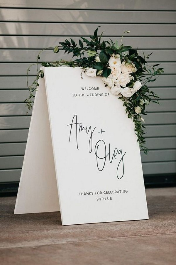 chic modern wedding welcome sign ideas