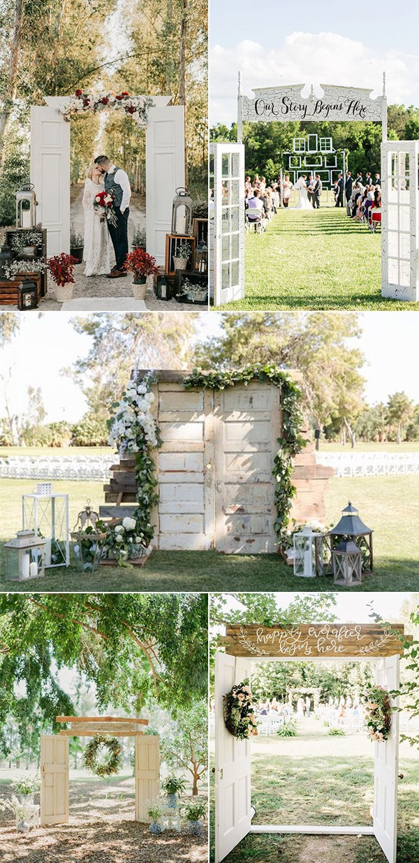 chic rustic outdoor wedding ceremony entrances