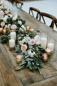 chic rustic wedding table garland ideas