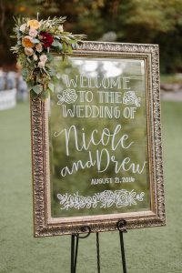 chic vintage mirror wedding welcome sign