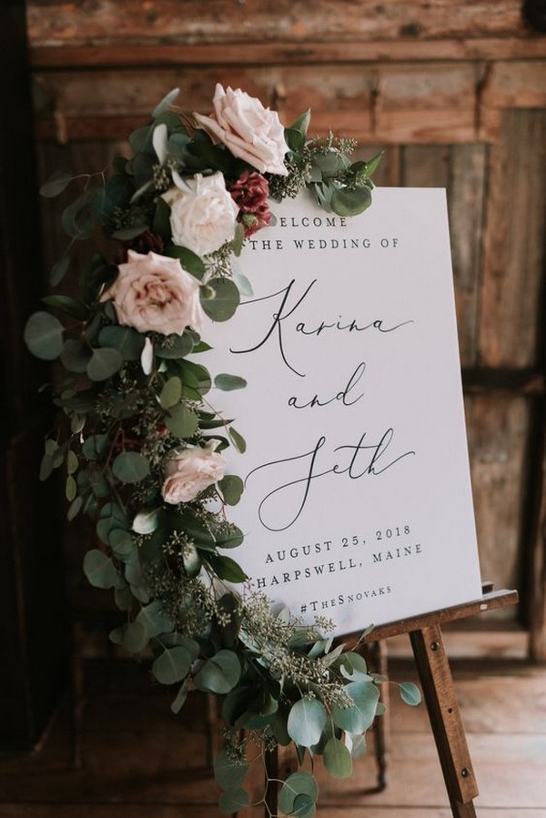 chic wedding welcome sign decorated with floral