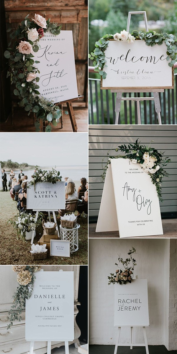 chic white and green wedding welcome signs
