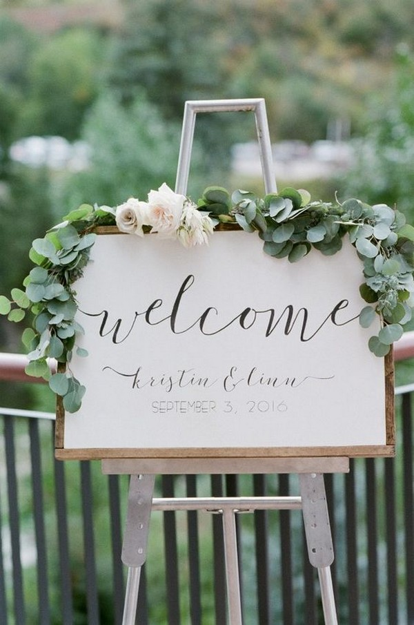 chic white and greenery wedding welcome sign