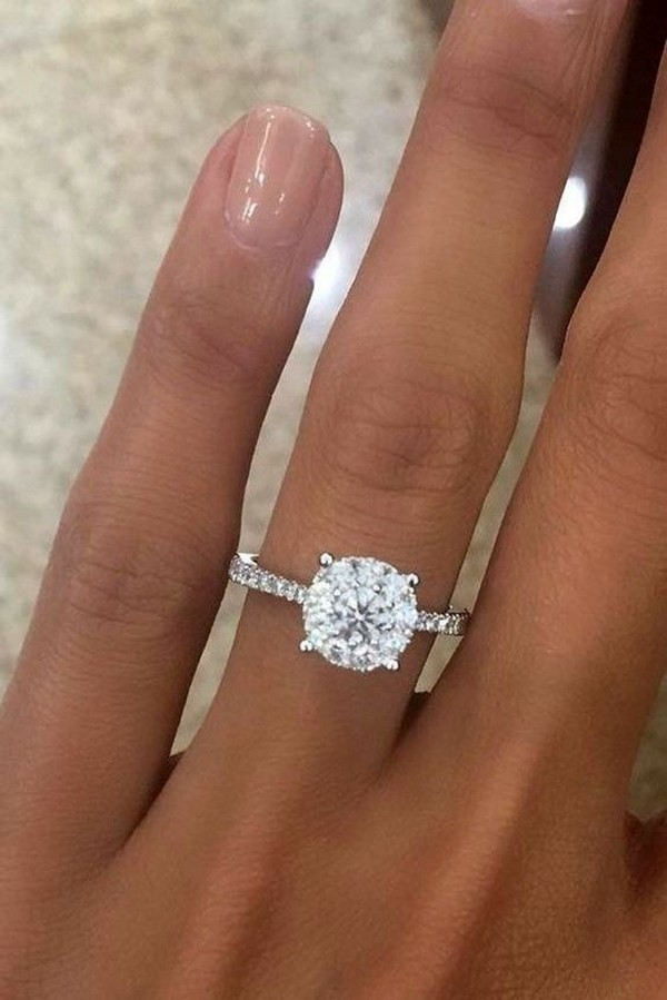 classic round diamond wedding engagement ring