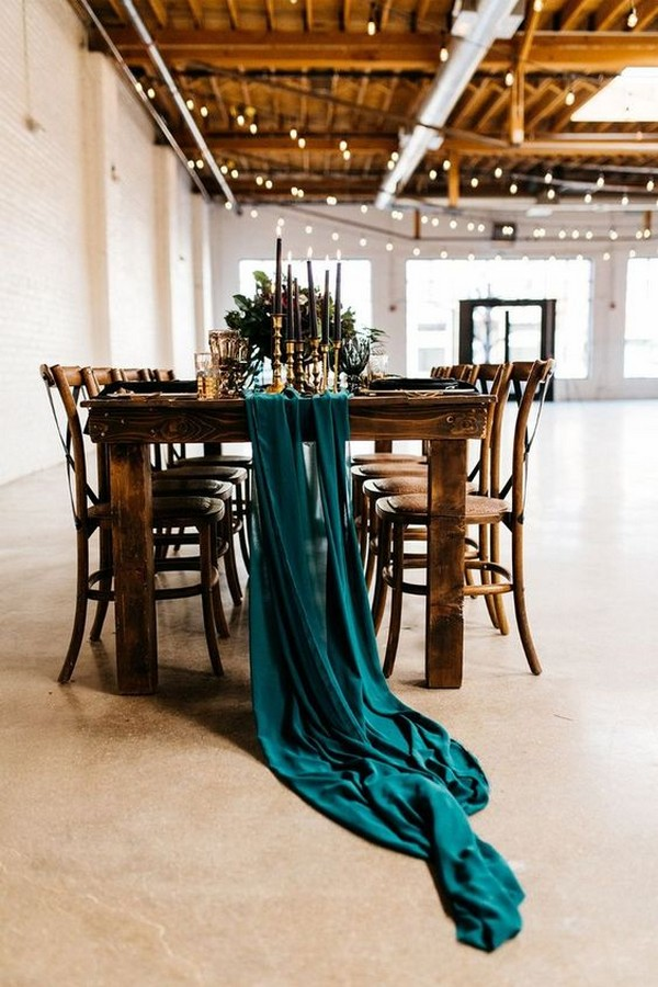dark teal fall wedding reception ideas