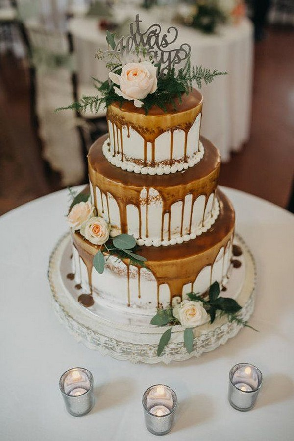 dripped fall wedding cake ideas