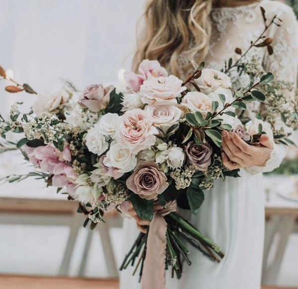 dusty colors fall wedding bouquet