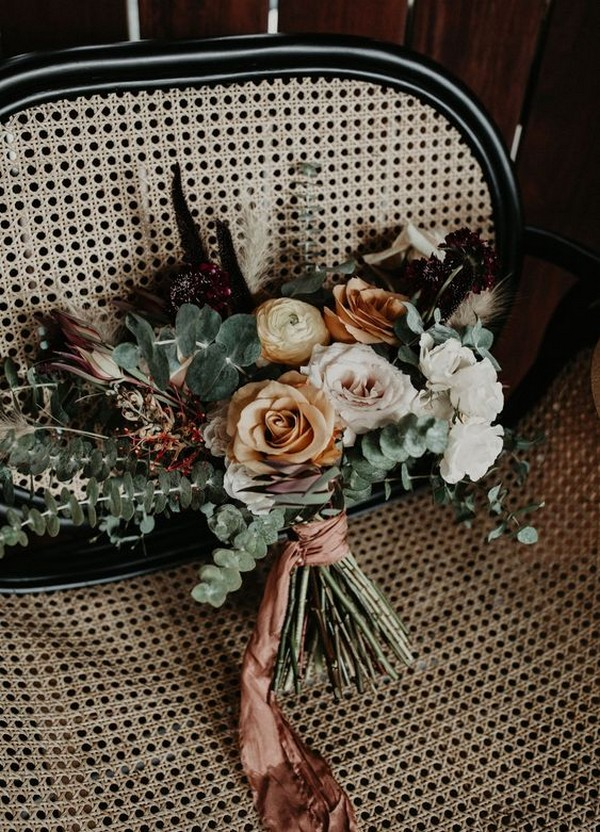 dusty orange and greenery boho wedding bouquet