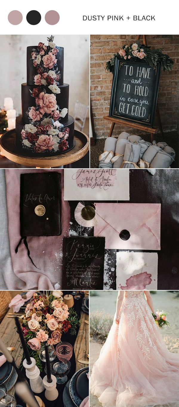 dusty pink and black fall wedding color ideas