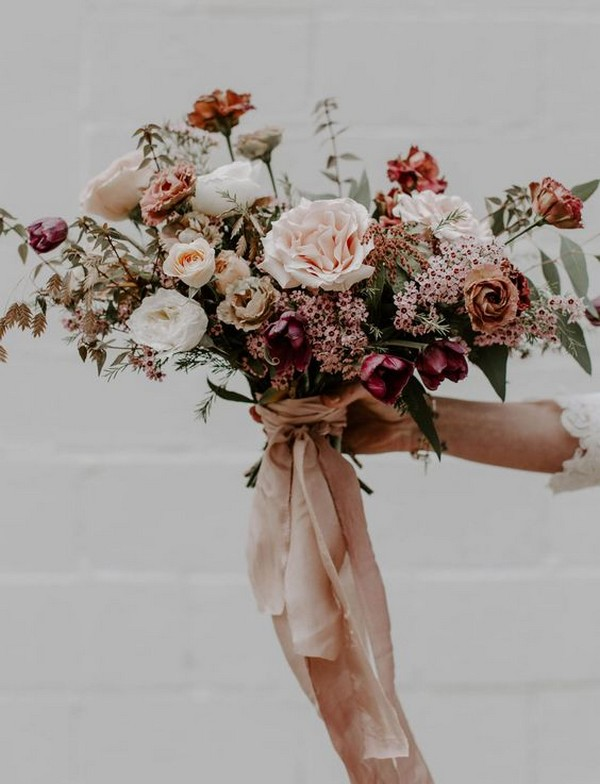 dusty pink and burgundy fall wedding bouquet