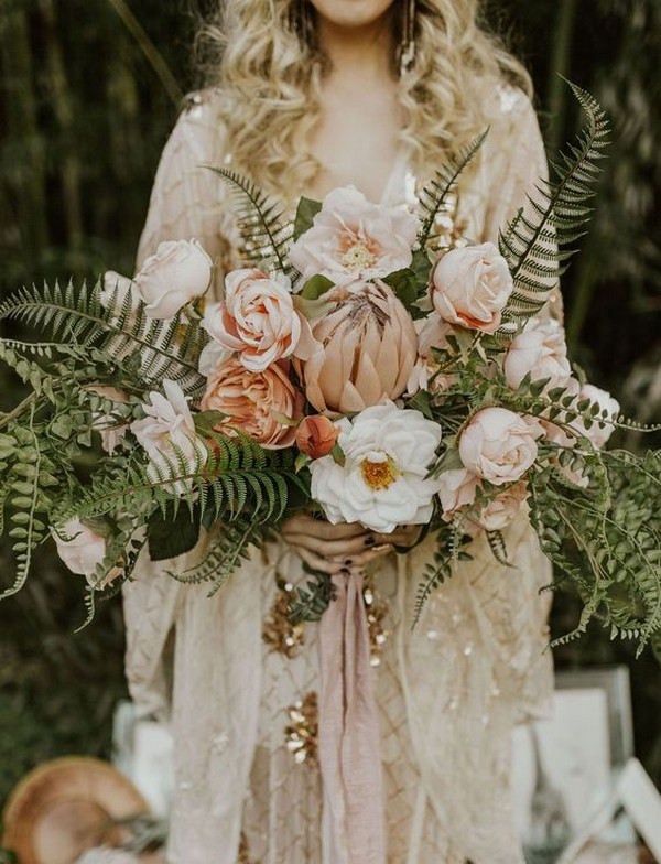 dusty pink and greenery boho wedding bouquet