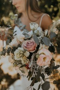 dusty rose and greenery fall wedding bouquet