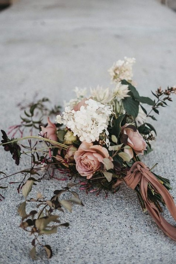dusty rose and ivory fall wedding bouquet