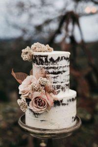 dusty rose semi naked wedding cake for fall 2019