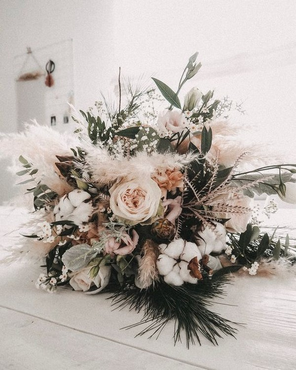 earthy neutral boho chic wedding bouquet