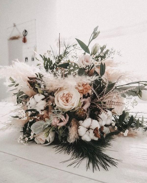 earthy neutral boho chic wedding bouquet
