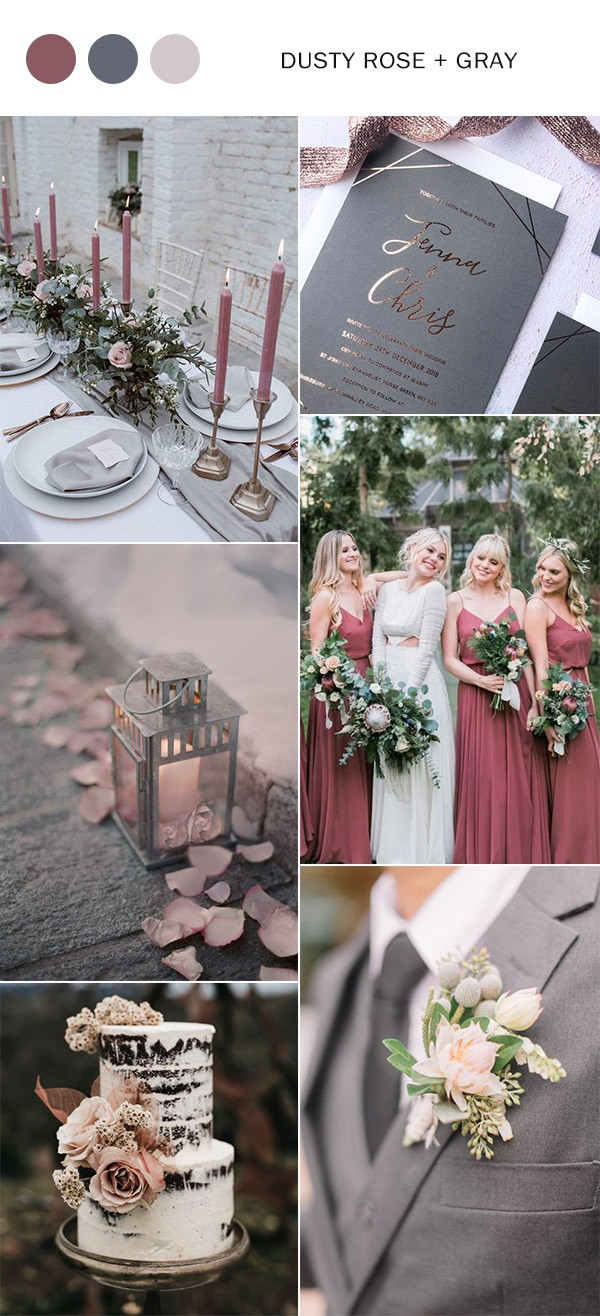 elegant dusty rose and gray wedding color ideas