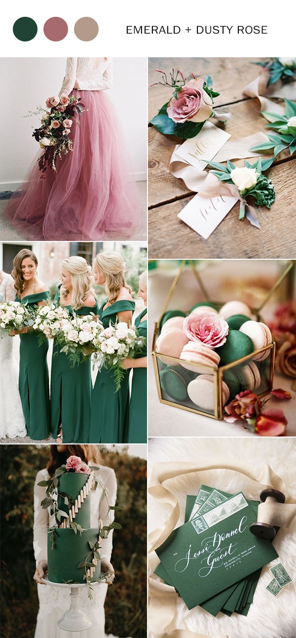 emerald green and dusty rose fall wedding color ideas