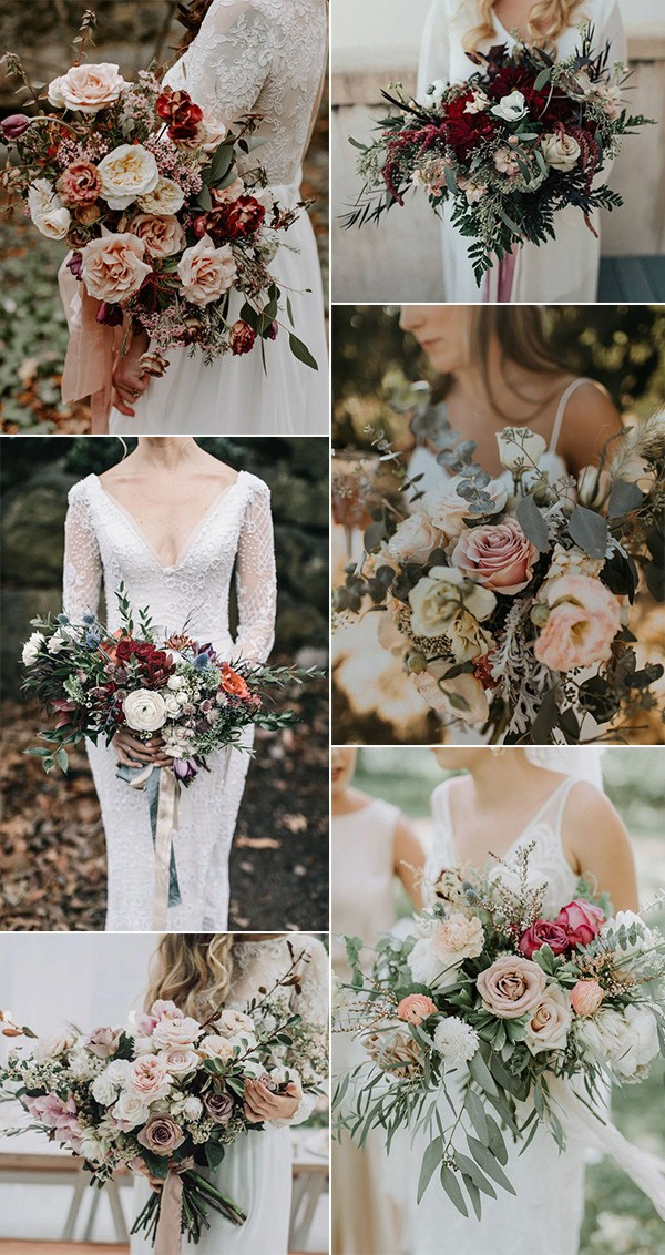 fall wedding bouqeut ideas for boho style weddings