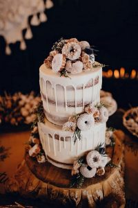 fall wedding cake with donuts