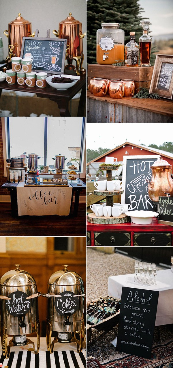fall wedding drink station reception ideas
