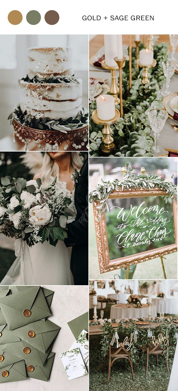 gold and sage green wedding color ideas