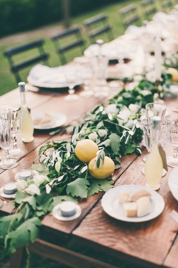 greenery and lemons wedding garland centerpiece ideas