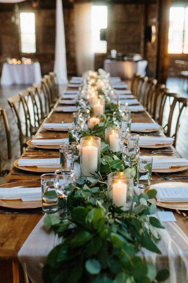 greenery garland wedding centerpiece ideas with candles