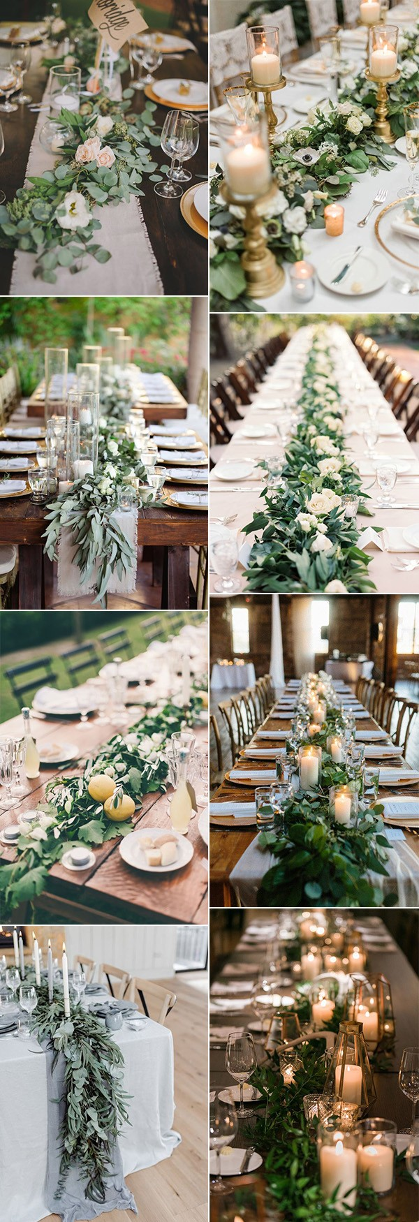 greenery garland wedding table runners