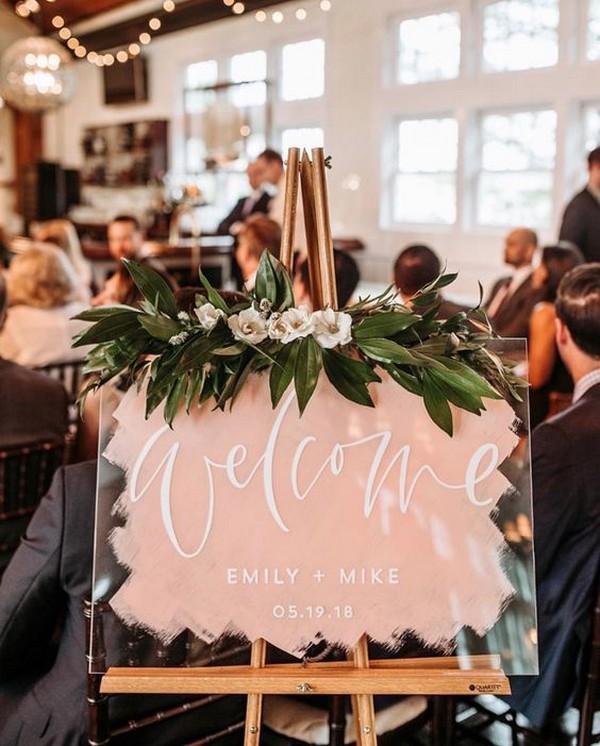hand painted acrylic wedding welcome sign